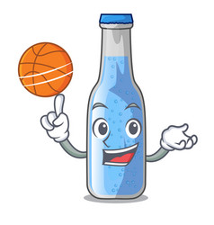 With basketball soda water and ice cubes cartoon vector