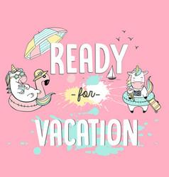 With unicorns beach party vector