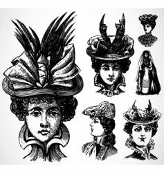 women and hats vector image