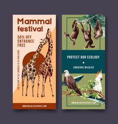 Zoo flyer design with eagle monkey giraffe vector