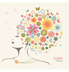 Beautiful Woman with Flowers and Butterflies vector image vector image