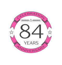 eighty four years anniversary celebration logo vector image