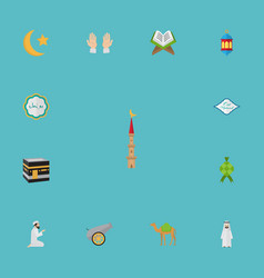flat icons holy book new lunar islamic lamp and vector image vector image