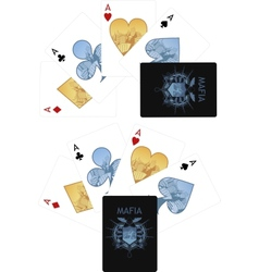 Four aces playing cards noir Mafia set vector image vector image