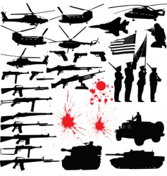 military silhouettes vector image