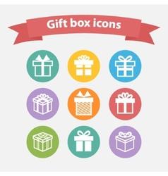 set of white gift box iconsshapesign vector image vector image