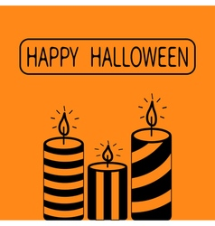 Striped candle set Happy Halloween Greeting card vector image vector image