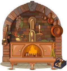 Wood stove vector