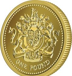 British money gold coin one pound vector image