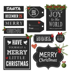 Chalkboard Style Christmas Retro Design Elements vector image