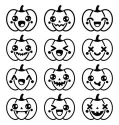 Halloween Kawaii cute black pumpkin icons - vector image vector image