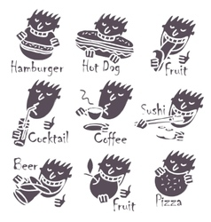 head eating different dishes vector image