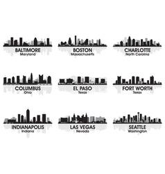 American cities skyline set 2 vector