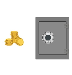 Bank safe with coins vector image vector image