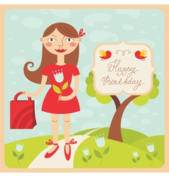 birthday card with girl vector image