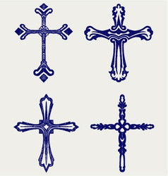 Religious cross design collection vector image