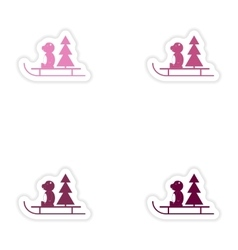 Set of paper stickers on white background bear vector