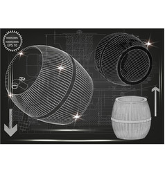 barrel on a black background vector image