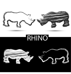 Black rhino and white rhino drawn with brush vector image