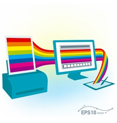 graphics tablet drawing design pc computer monitor vector image vector image