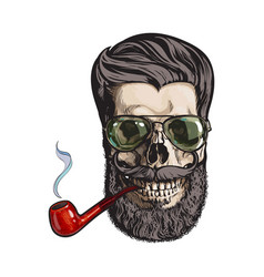 human skull with hipster beard wearing aviator vector image vector image