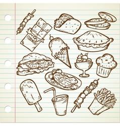 Junk Foods Doodle vector image vector image