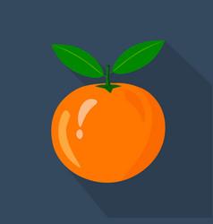 orange cartoon flat icondark blue background vector image