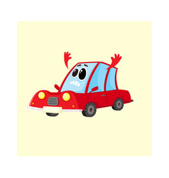 red car auto character flinging up arms in dismay vector image