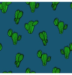 Seamless hand drawn pattern with cactus saguaro vector image vector image