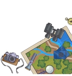 Tourism banner Set of travel equipment vector image
