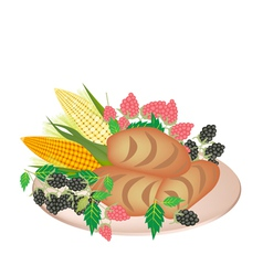 A Plate of Cornbread with Berry Fruit vector