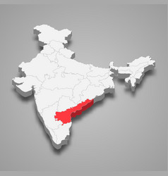 Andhra pradesh state location within india 3d map vector
