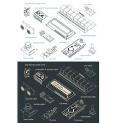 Arduino sensors set drawings vector