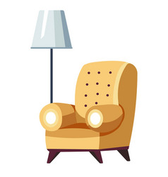 Armchair and floor lamp hotel furniture seat vector