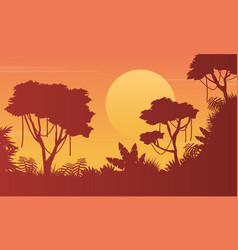 Art junge scenery with tree silhouette vector