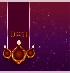 Beautiful happy diwali diya decoration background vector