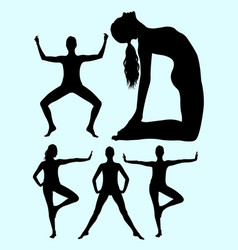 beautiful woman doing exercise silhouette 02 vector image