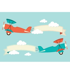 Biplane in the clouds vector image