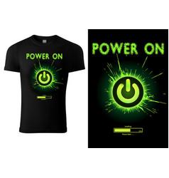 Black t-shirt design green power button vector