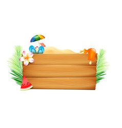 blank wood board with copyspace and summer beach vector image