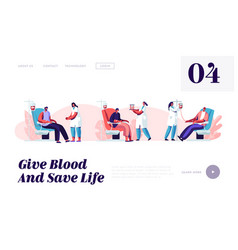 Blood donation website landing page volunteers vector