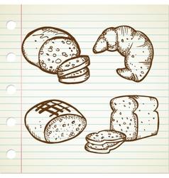 bread doodle set vector image