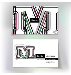 Business card design with letter M vector image