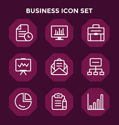 business icon set in red maroon background vector image