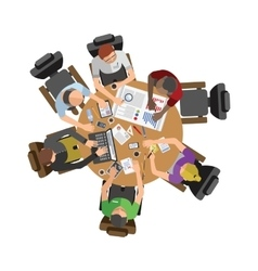 Business people sitting on table vector
