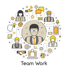 Business Team Work Line Art Thin Icons Set vector