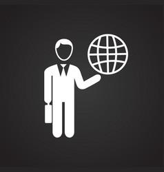 businessman runs world on black background vector image