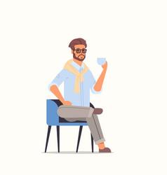 businessman sitting on armchair business man vector image