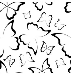 butterfly seamless pattern black and white vector image