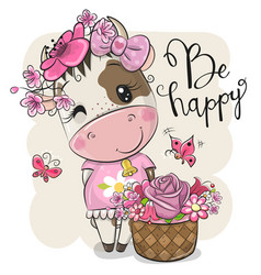Cartoon cow with flowers on a white background vector